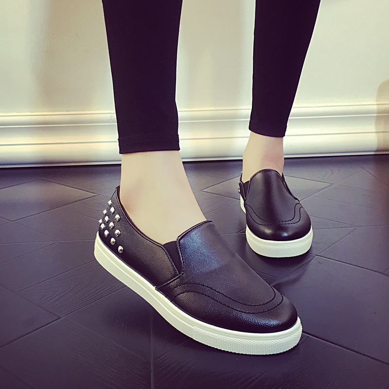 Spring Autumn New 2016 Women Loafers Rivet Woman Flats Shoes Casual Slip on For Ladies odetina 2017 new women pointed metal toe loafers women ballerina flats black ladies slip on flats plus size spring casual shoes