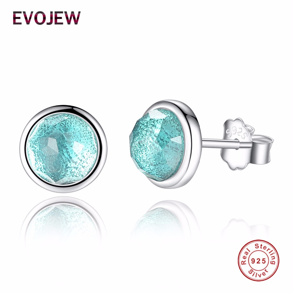 EVOJEW Real 925 Sterling Silver Stud Earrings For Women Green Crystal March Birthday Droplets Earrings sterling-silver Jewelry ...