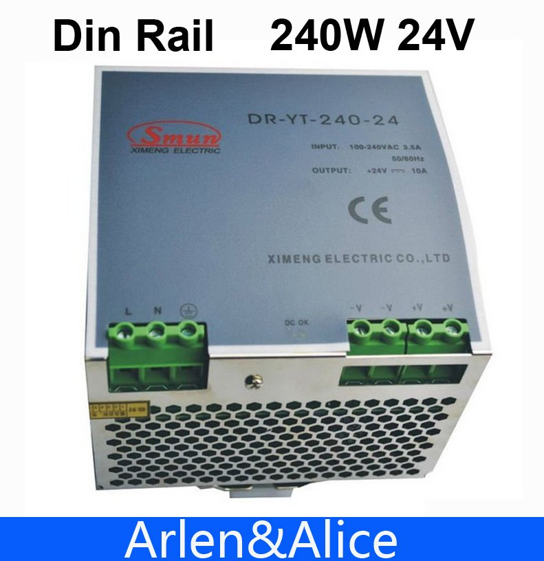 240W 24V  Din Rail Single Output Switching power supply dhl ems md 240 24 1 din rail power supply metal case 24v 10a output 85 264vac input c4 d9