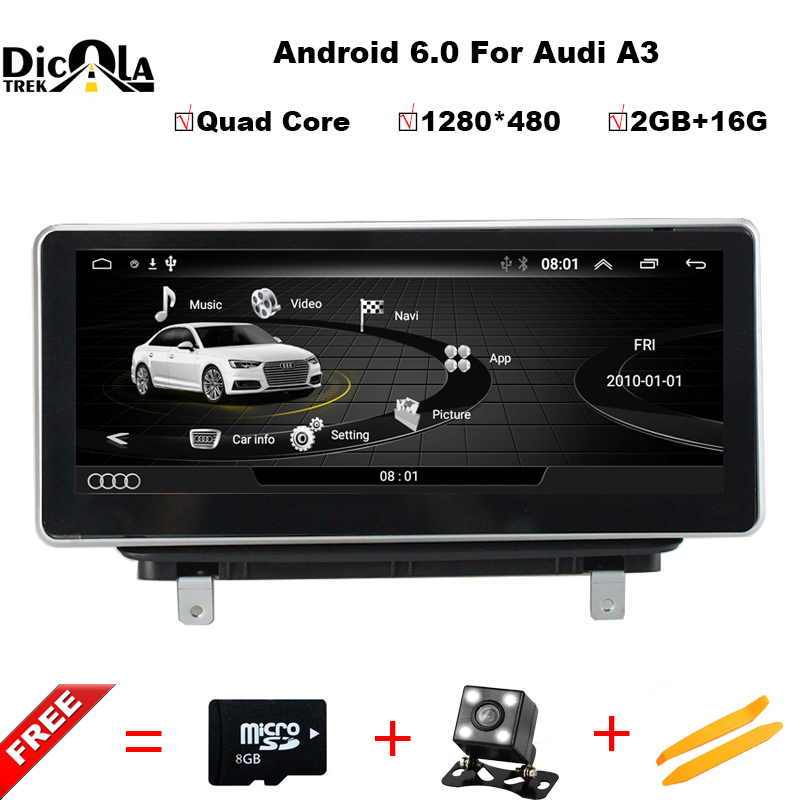 10.25 inch Quad Core IPS Android 6.0 CAR DVD player For Audi A3 2013-2017 GPS stereo radio navigation multimedia Touch SCREEN 10 25 android monitor for audi q7 2006 to 2013 left hand driving touch screen gps navigation multimedia player