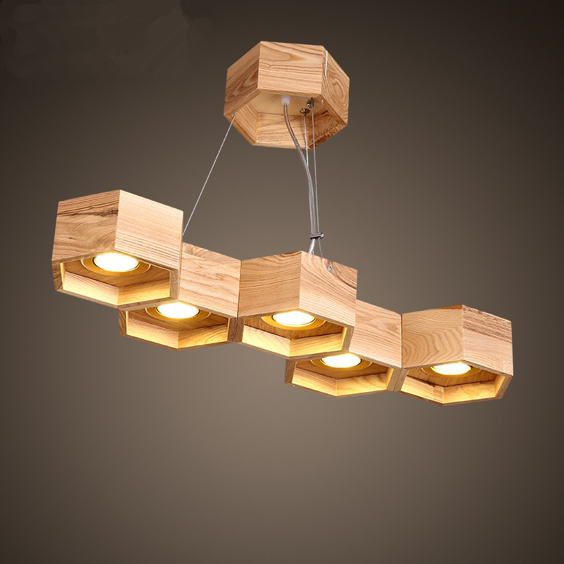 5 Heads Nordic Wood Honeycomb Chandelier Lamp Living Room