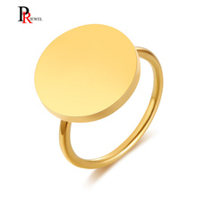 Anillo de moneda Retro para mujer, tono dorado, cojín de acero inoxidable o forma ovalada, anillos de alta pulido para mujer