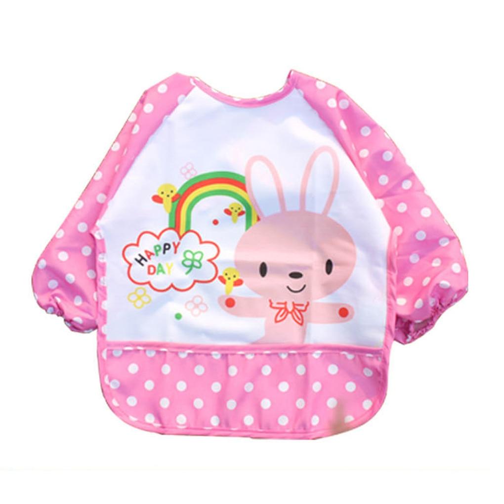 Waterproof Long Sleeve Feeding Baby Bibs Cartoon EVA Infants Apron Baby Bib Burp Cloth