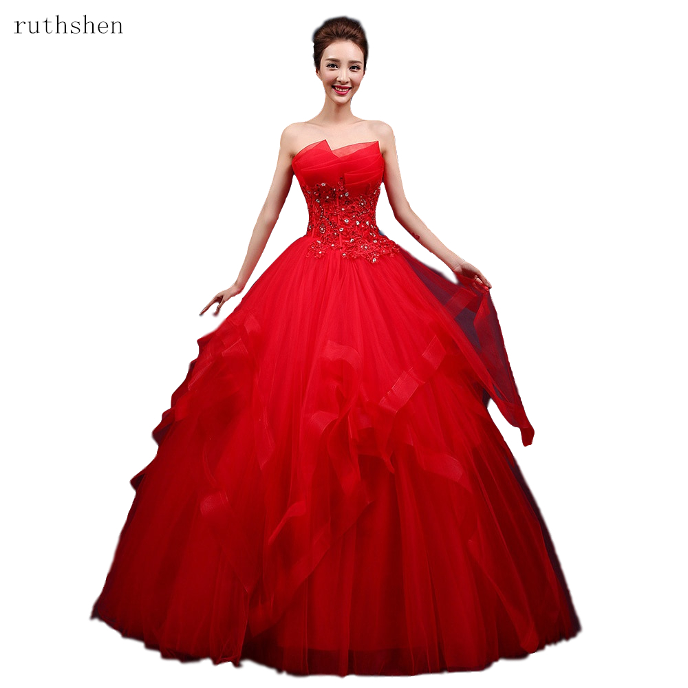 Red Ball Gown Dresses: 2019 Red Ball Gown Strapless Tulle Crystal Appliques