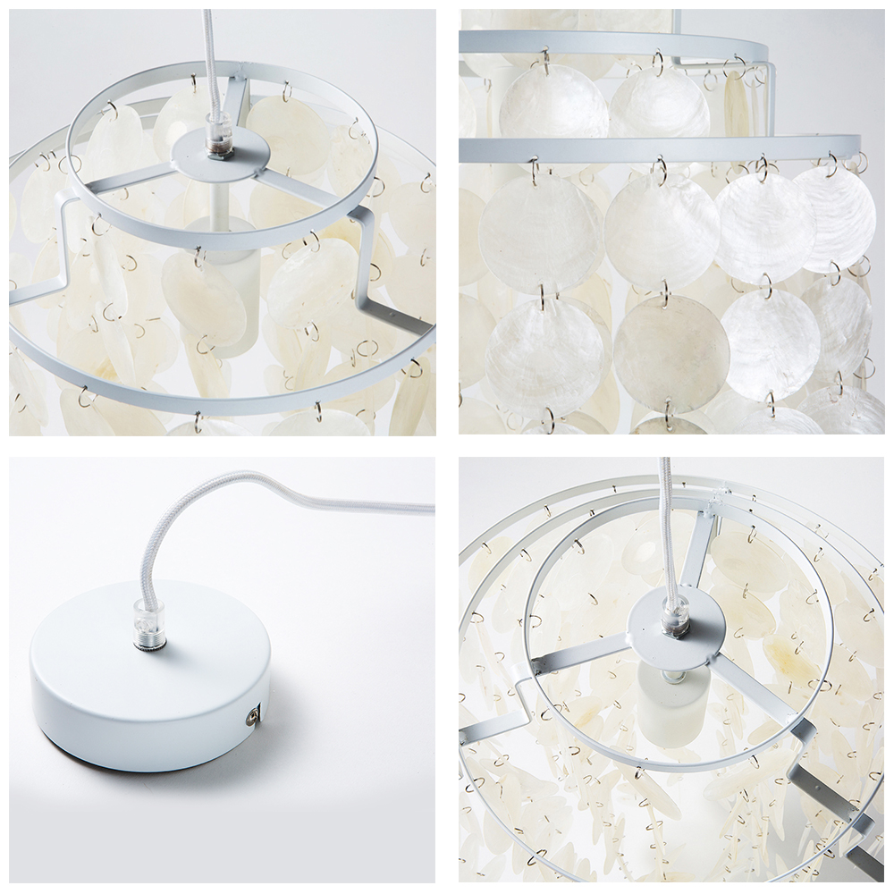 Modern loft 3 kinds style natural seashell pendant lamp lustres fixture E27 Lights Shell lamps for kitchen living room bedroom
