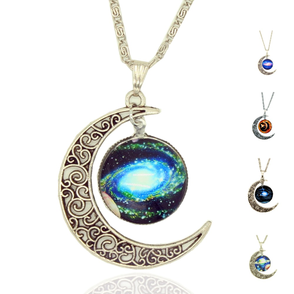Liebe engel brand silver color jewelry moon statement necklace glass x405 free shipping 2016 galaxy necklace lovely galaxy cabochon alloy hollow moon pendant silver color necklace mozeypictures Gallery