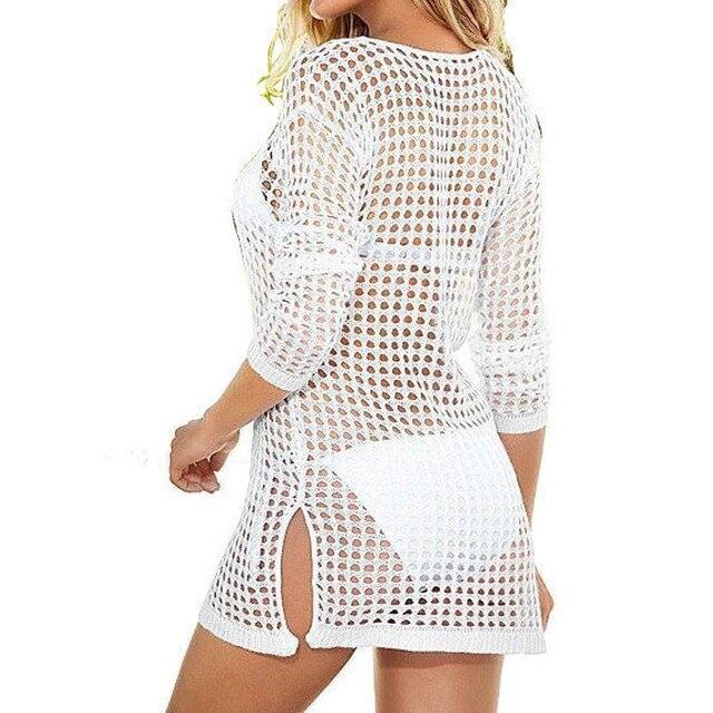d2a276fff8fd5 tee shirt femme Sexy Summer Women Mesh Knitted Crochet Beach Tops T Shirts Swimsuit  Cover Up Swimwear Bikini Wrap Bathing Suit