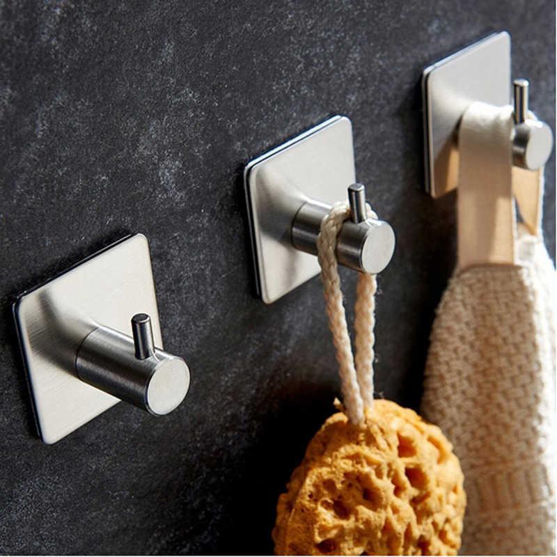 2 шт./компл. клей из нержавеющей стали, кухонный настенный дверной крючок на липучке, вешалка для дома, настенный дверной держатель, крючок для одежды, вешалки для багажа 976302