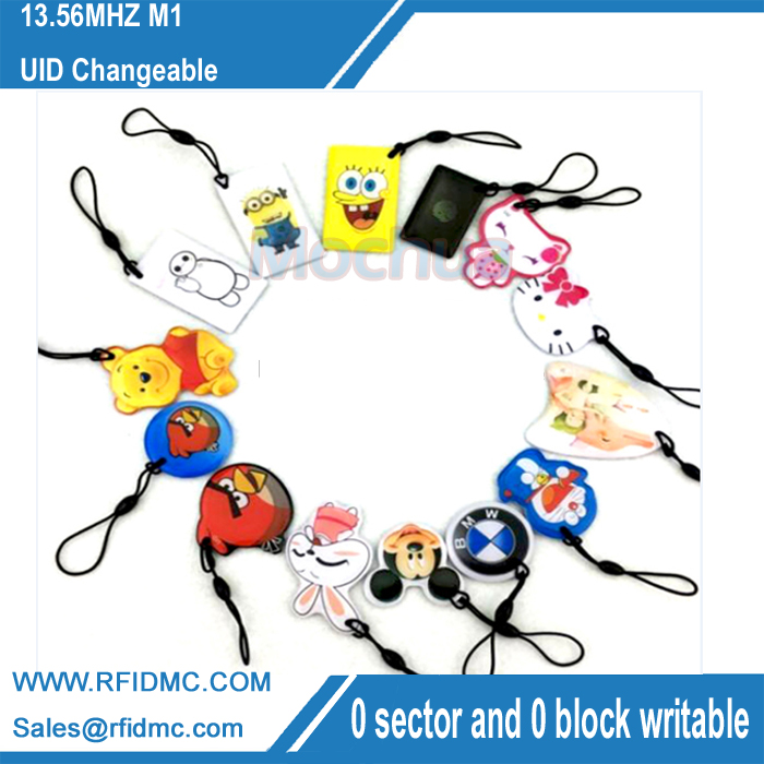 UID Changeable Small Pendant M1 Classic Keychain 13.56MHz ISO14443A Block 0 Writable MF1 1K S50 цена