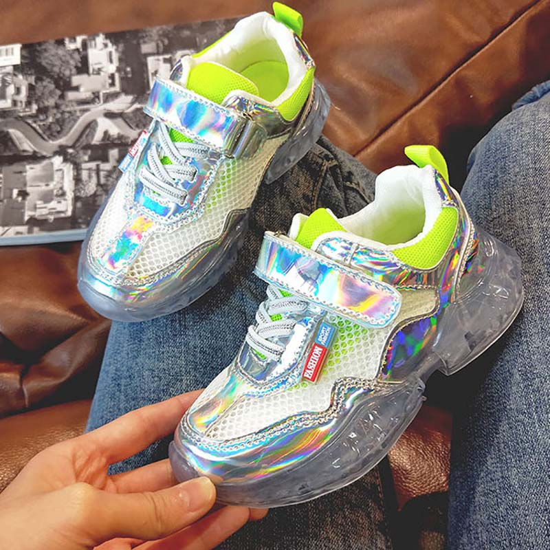 Fashion Spring Kids Running Shoes Children Crystal Shoes Toddler Boys Sport Shoes Glowing Sneakers For Girls Casual Shoes