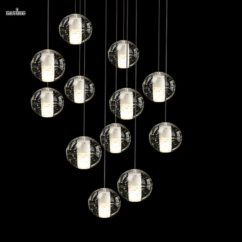 Magic Ball Crystal Chandelier 14 Lights Meteor Modern Lighting Fixture With Polished Chrome Rectangular Stainless Steel Base In Pendant From