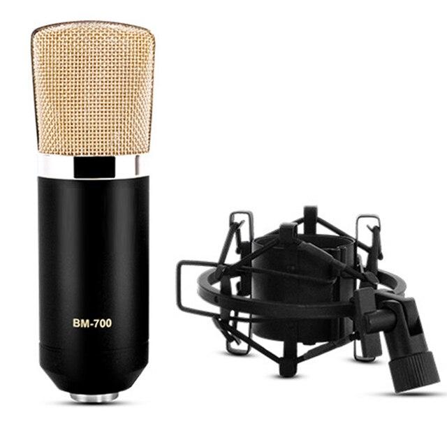 Профессиональные БМ-700 BM700 Конденсаторный КТВ Микрофон Кардиоидный Pro Audio Studio Запись Вокала Микрофон КТВ Караоке Металл Подвес