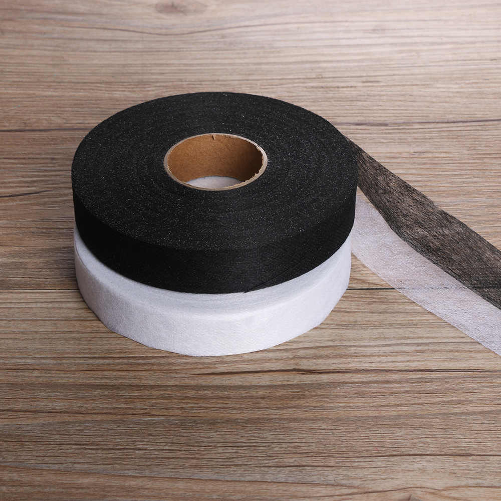50/100M Black & White Wonder Web Iron On Hemming Tape Double Faced Adhesive Fabric Roll Clothes Sewing Turn Up Hem DIY Craft