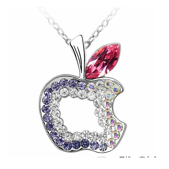 Labekaka austrian crystal necklace apple pendant branded design labekaka austrian crystal necklace apple pendant branded design crystals from swarovski mozeypictures Image collections