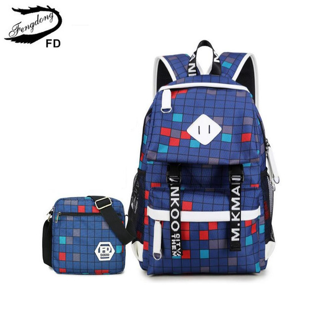 FengDong 2 pcs blue plaid school backpack for girls one shoulder ...