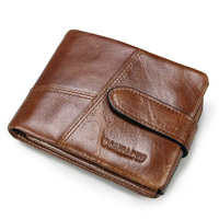 Men's Wallet Leather Short Buckle Detachable Coin Purse Stitching Clutch