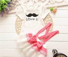 Été de bande dessinée dress vêtements set Filles bébé babi t-shirt court manches en deux pièces costume dress dentelle arc jupe Enfants Portent S1615