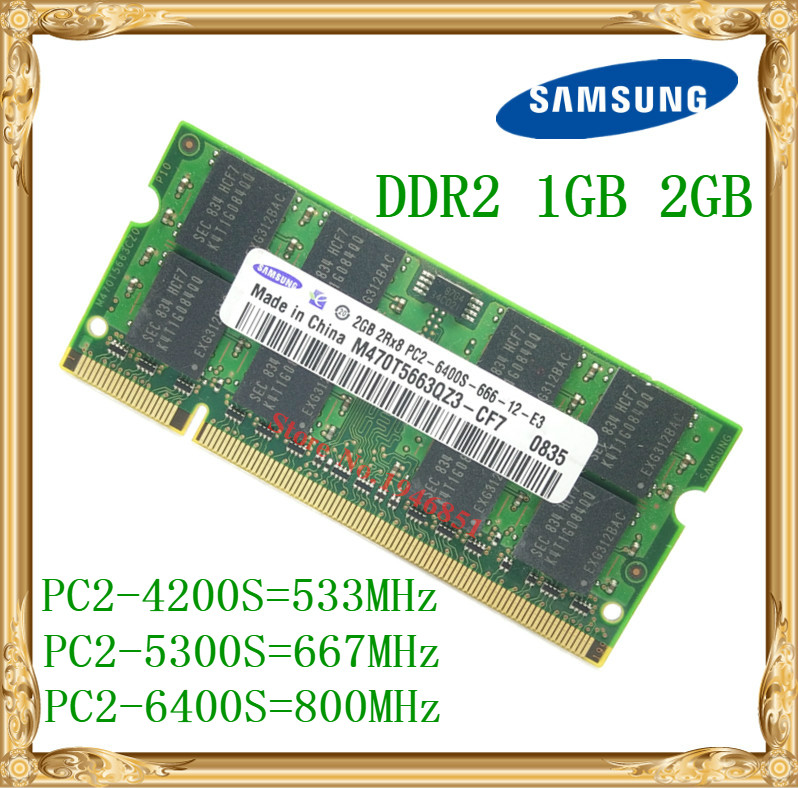 Ordinateur Portable Samsung mémoire 1 gb 2 gb DDR2 533 667 800 mhz PC2-4200 5300 6400 Cahier RAM 800 6400 s 2g 200 broches