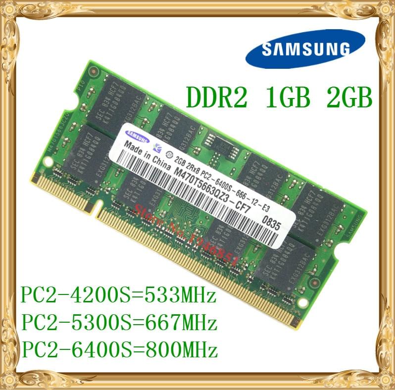 Samsung Laptop Memory 1GB 2GB DDR2 533 667 800MHz PC2-4200 5300 6400 Notebook RAM 800 6400S 2G 200-pin