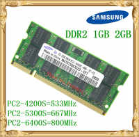 Samsung Laptop speicher 1 GB 2 GB DDR2 533 667 800 MHz PC2-4200 5300 6400 Notebook RAM 800 6400 S 2G 200-poligen