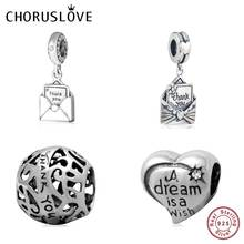 Choruslove Thank You Envelope Dangle Charm Authentic 925 Sterling Silver Best Wishes Bead fit Pandora Bracelet DIY Women Jewelry