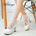 2016 New Fashion senior PU leather + Mesh women Ankle boots Big size 32-48 solid Round Toe high heels white black red AYY-013