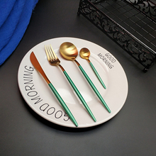 Hot Sale 4pcs Green Gold tableware set  Kitchen 304 Stainless steel Knife Fork Spoon Food Tableware Flatware Set cutlery