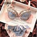2015 sexy lingerie, bra sets breve, três-fileira de Renda Bordado lingerie, mulheres sexy conjunto de sutiã, frança marca Intimates, Grande Copo BC