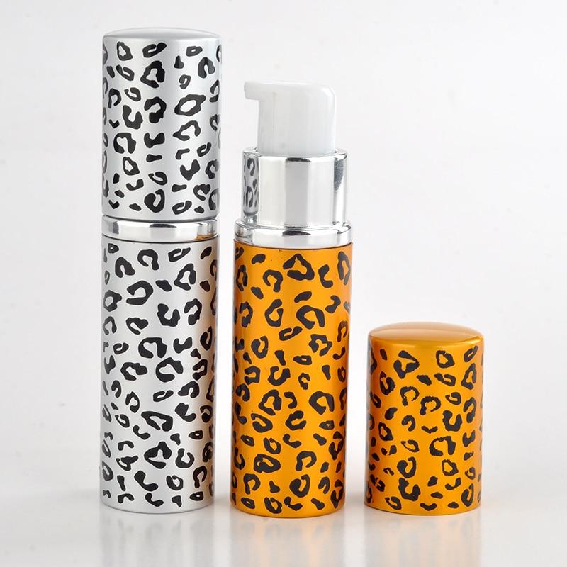 New Style 10ML Mini Portable Lip Print Aluminum Refillable Shampoo Bottle With Pump Empty Glass Cosmetic Cream Case For Travle