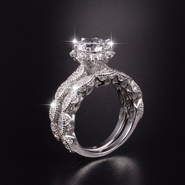 engagement diamond ring topaz rings silver dazzling simulated