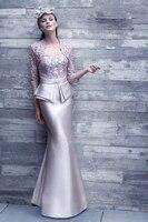 New 2016 Vestido De Madrinha Mermaid Mother Of The Bride Dress Long Lace Jacket 3 4