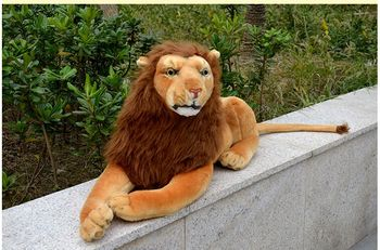creative plush simulation lion toy lovely lying lion doll birthday gift about 75cm
