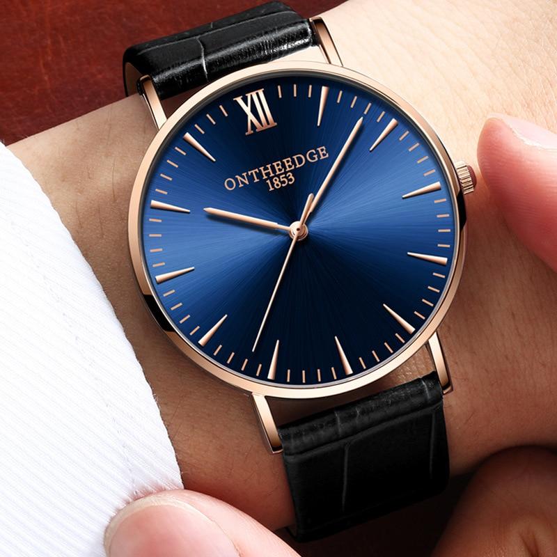 купить Reloj Hombre New Famous Brand Quartz Watch Men Fashion Simple Thin Leather Watches Casual Waterproof Wristwatches Zegarki Meskie по цене 843.08 рублей