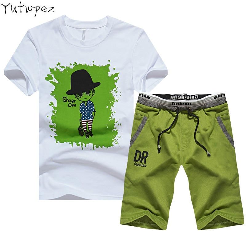 Summer Men Set Casual 2 PCS/SET Print Cartoon People Pattern Fitness Male Tracksuit Clothing T-Shirt + Shorts Moletom Masculino