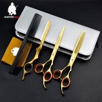 30% Off Gold titanium hair scissors kit hairdresser 6 inch professional barber scissors set haircut razor thinning shear HT9128