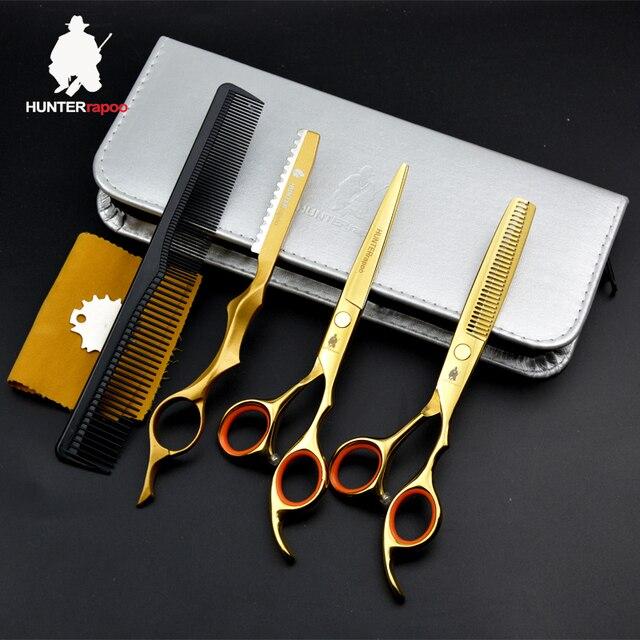 afe5b16e90 US $163.9 29% di SCONTO 30% di Sconto Oro titanium forbici dei capelli kit  parrucchiere 6 pollici professionale forbici del barbiere impostare il ...