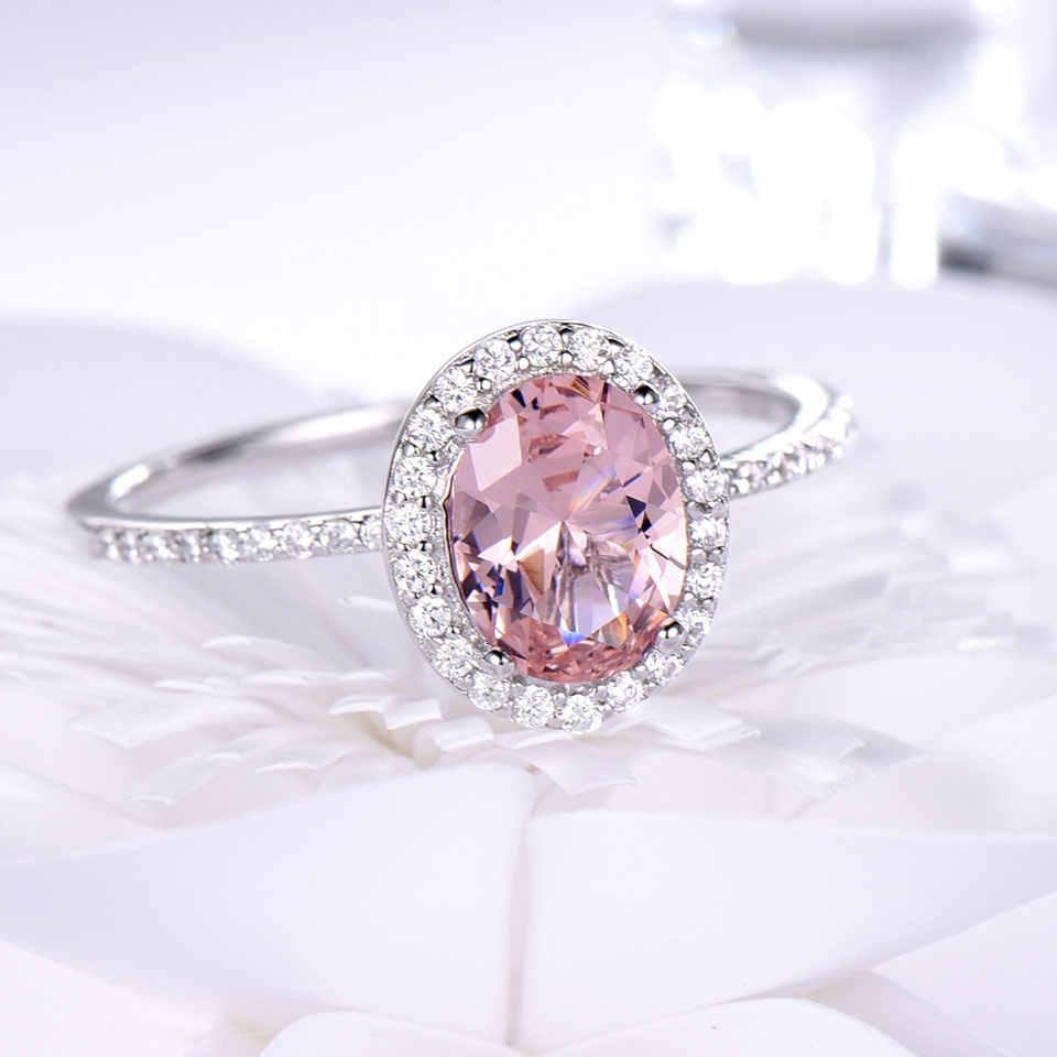 UMCHO 925 แหวนเงินแท้รูปไข่คลาสสิกสีชมพู Morganite แหวนแหวนหมั้นอัญมณีงานแต่งงานเครื่องประดับ Fine ของขวัญ