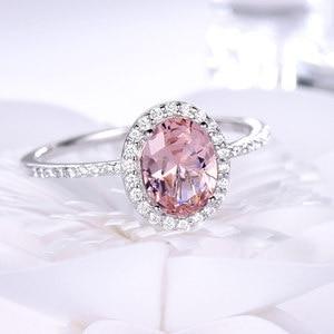 Image 2 - UMCHO 925 Sterling Silber Ring Oval Klassischen Rosa Morganit Ringe Für Frauen Engagement Edelstein Hochzeit Band Feine Schmuck Geschenk