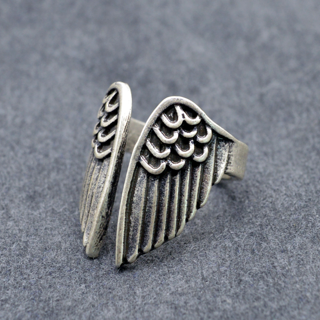 1pc Feather Wing Rings Dropshipping Antique Silver Signet Ring For Women Punk Ri