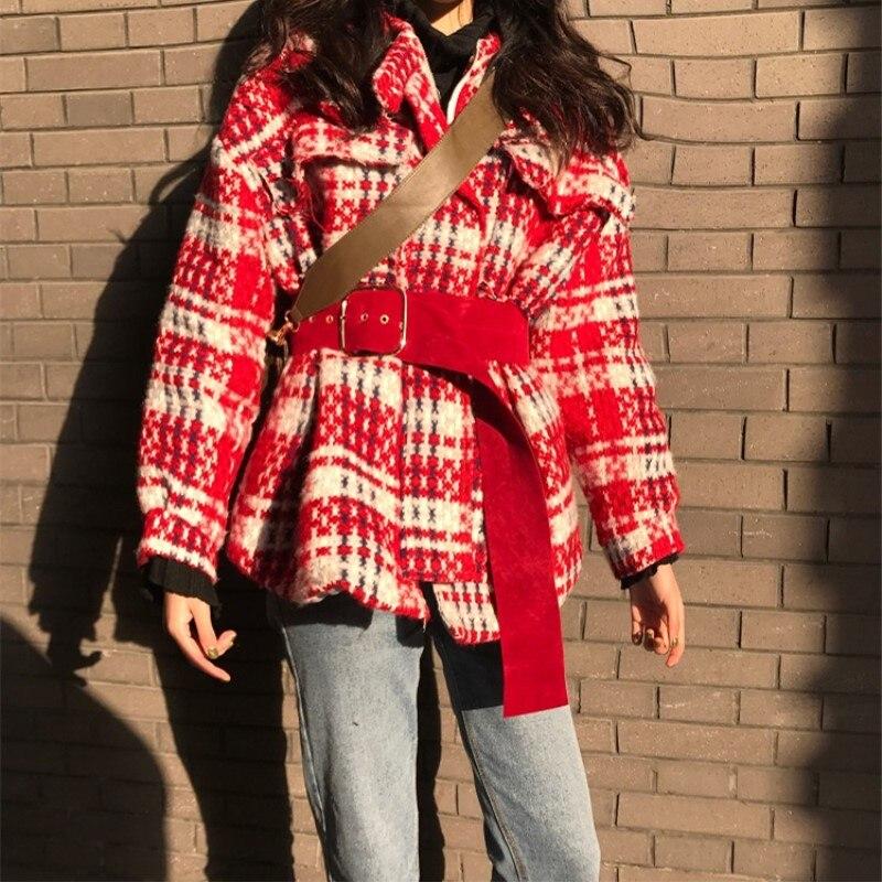 Noir Automne Et Femmes rouge Femelle Laine Manteau Casual Section De Hiver Nouvelle Plaid Rétro Longue Sauvage Fpqw6A4
