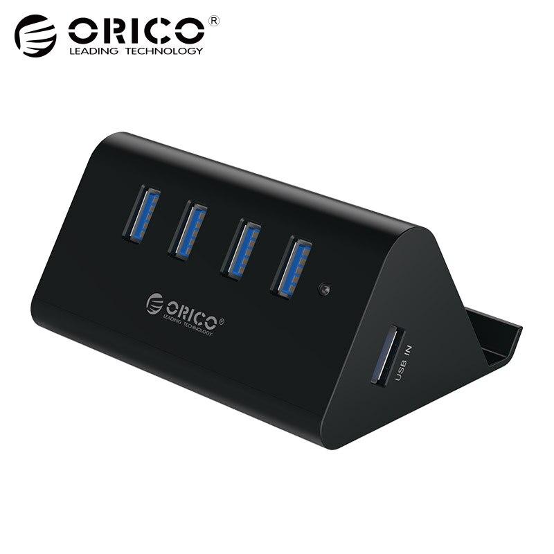 ORICO 5 Gbps alta velocidad Mini 4 puertos USB 3,0/2,0 HUB para el ordenador portátil de escritorio con soporte para teléfono Tablet PC-negro/blanco