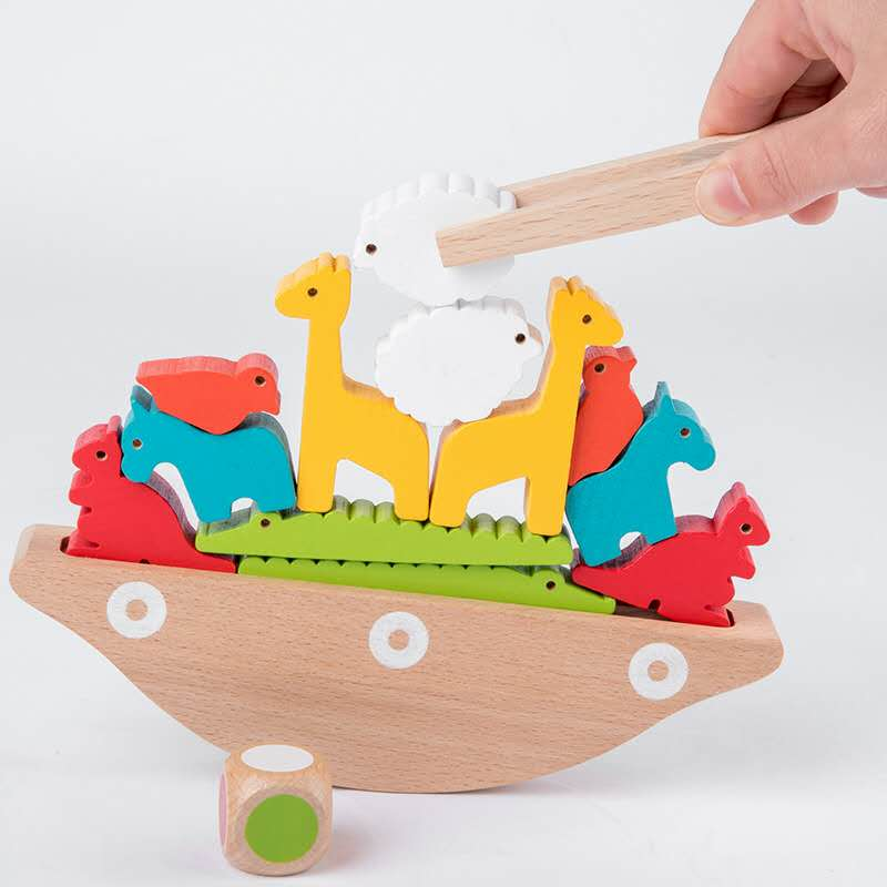 Preschool Wooden Montessori Toy Animal Balancing Stacking Game Blocks Kids Early Learning Educational Toys Gifts For Children