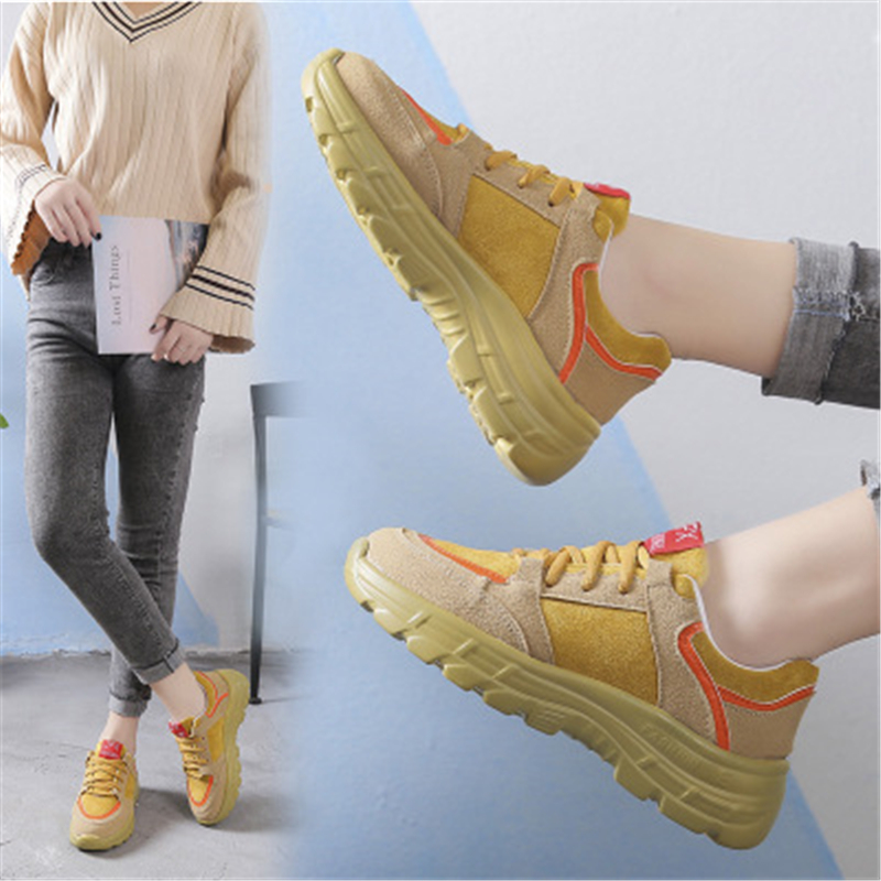 Spring Autumn 2019 Daddy shoes female new Walking shoes Sponge cake Thick bottom Student Genuine leather Leisure Tennis shoes 5