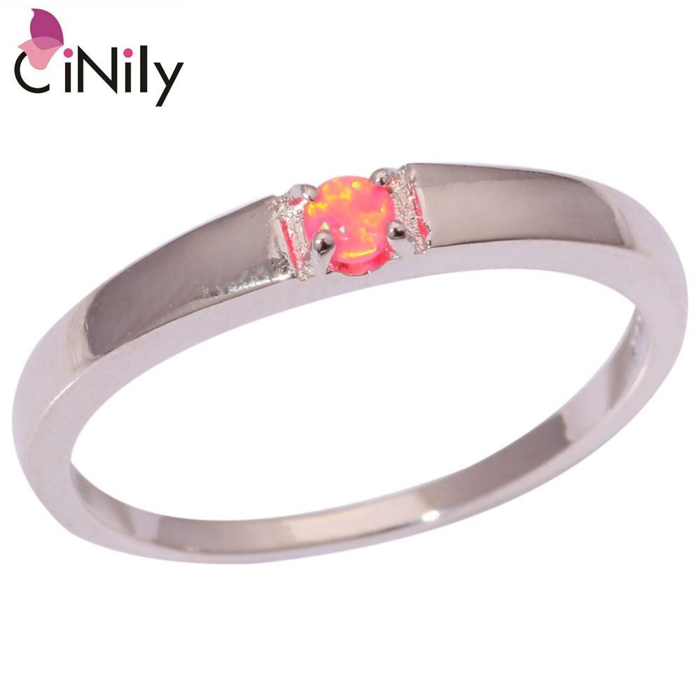 Cinily Fashion Jewelry Ring-Size Fire-Opal Silver-Plated Wedding Party Women for 7/8/Oj6181
