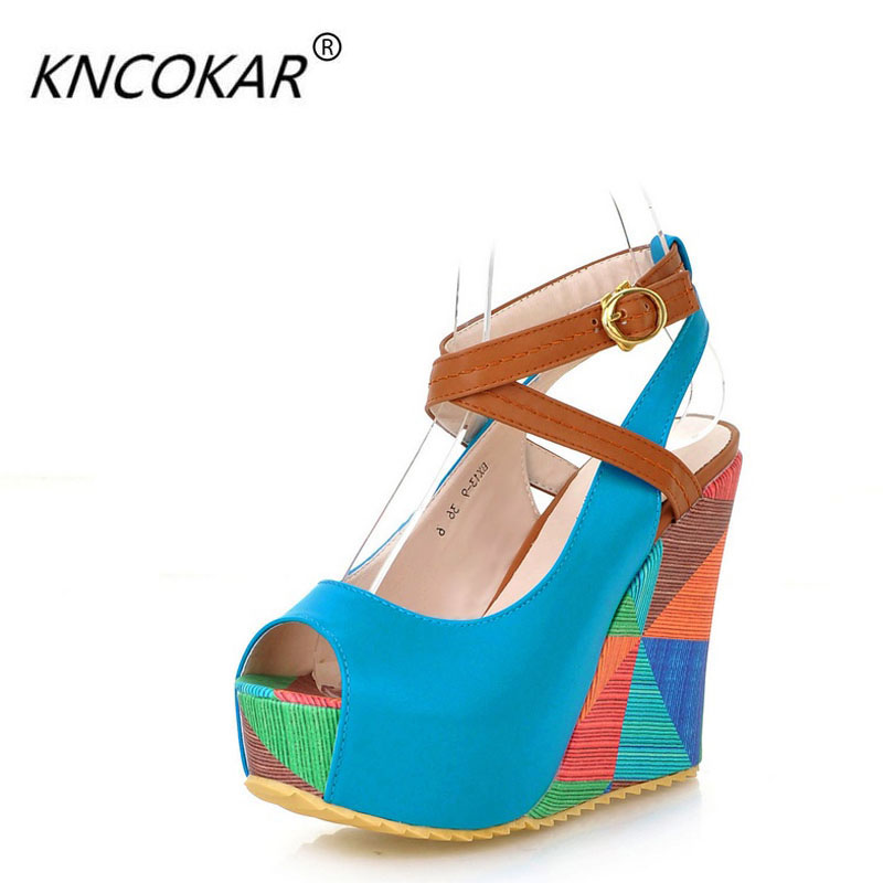 2018 Spring and summer wedges sandals ultra high heels platform shoes female open toe platform shallow mouth platform sandals e toy word summer platform wedges women sandals antiskid high heels shoes string beads open toe female slippers