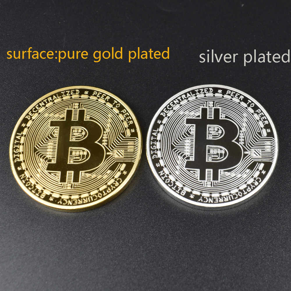 1pcs Hot sale Cheap Gold BItcoin Coin with Plastic shell Bit Coin BTC Cryptocurrency Physical metal coin for Colllection-1