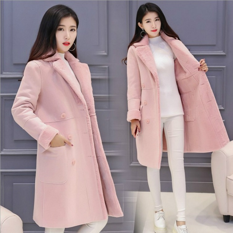 Pregnant women coat 2018 winter new style plus cashmere thick coat in the long paragraph plush lapel coat 2017 autumn and winter new women in the long paragraph thick cotton jacket 3399