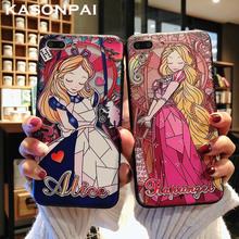 3D Retro alivio teléfono casos para iphone 8 7 6 6S Plus de dibujos animados lindo Alice princesa sirena para iphone XR XS MAX X caso Coque