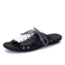 New Men's Sandals Genuine Leather Flip Flops Slippers For Men Fashion Summer Cool Mens Beach Shoes Slippers Man Sandalias Hombre