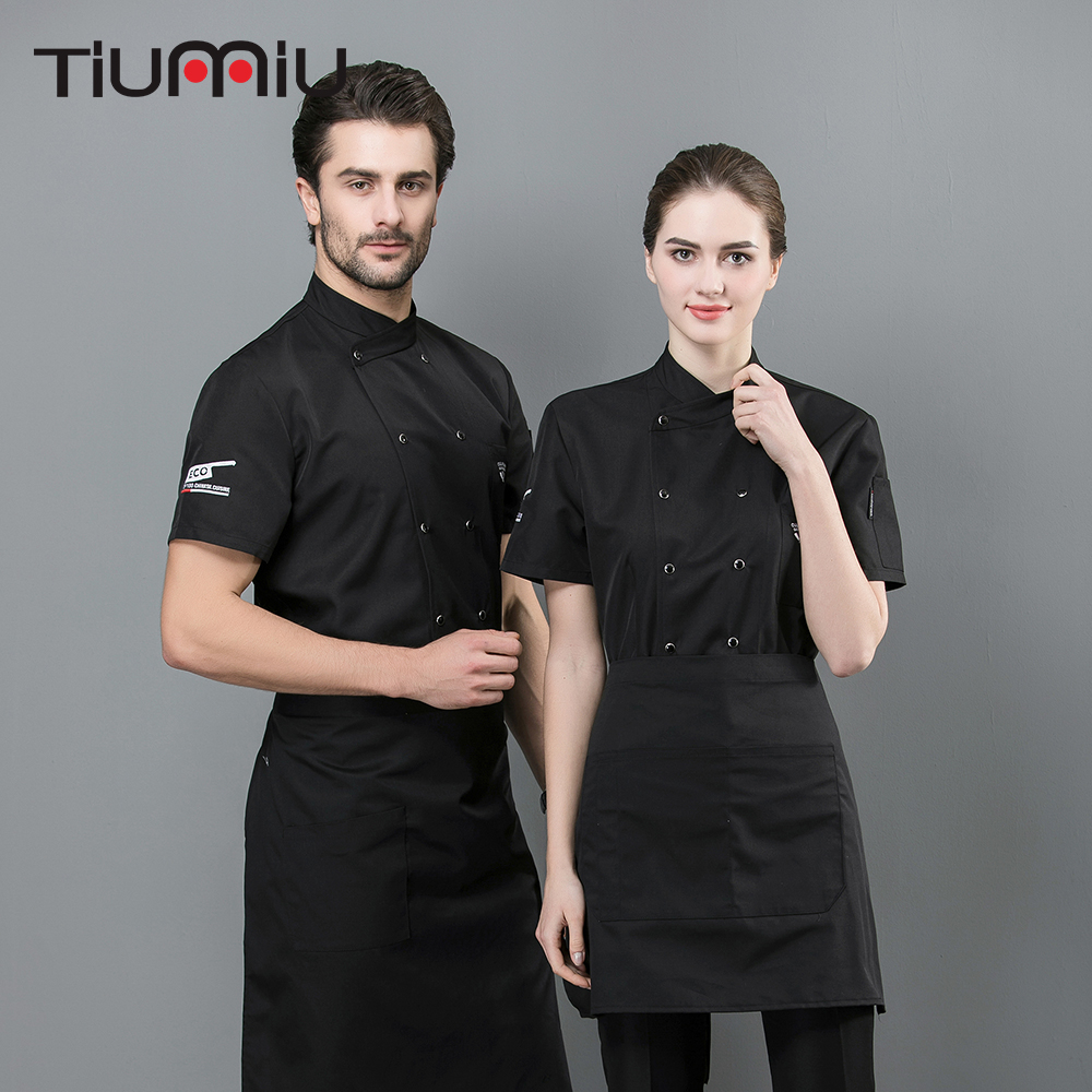 2019 Chef Jacket Embroidered ECO Logo Barbr Service Unisex Restaurant Summer Kitchen Ropa De Cocina Pure Color Work Uniform